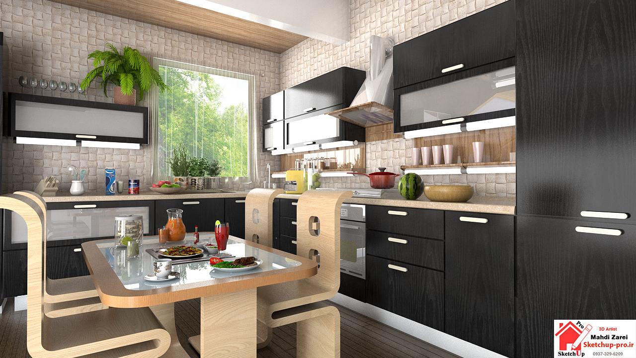 آموزش نورپردازی و رندر آشپزخانه